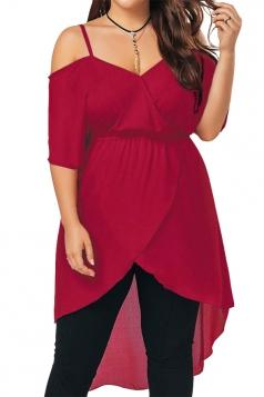 Plus Size Strap V Neck Cold Shoulder High Waist Irregular Hem Top Red