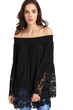 Women Casual Off Shoulder Lace Hem Long Sleeve Blouse Black