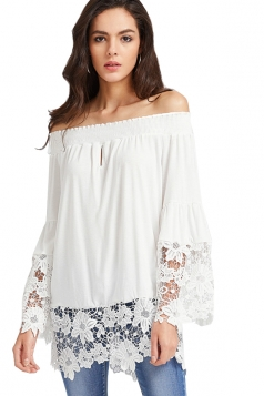 Women Casual Off Shoulder Lace Hem Long Sleeve Blouse White