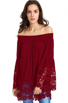 Women Casual Off Shoulder Lace Hem Long Sleeve Blouse Ruby