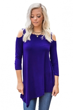 Women Cold Shoulder Asymmetrical Hem Plain Blouse Sapphire Blue