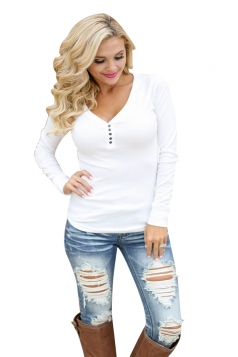 Women Sexy V-Neck Buttoned Front Long Sleeve Plain T-Shirt White