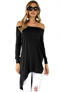 Women Off Shoulder Asymmetrical Hem Slit Long Sleeve Blouse Black