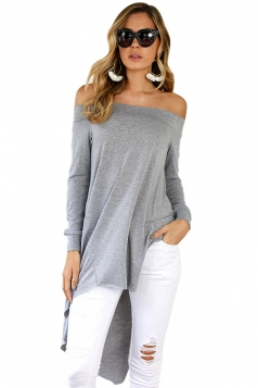 Women Off Shoulder Asymmetrical Hem Slit Long Sleeve Blouse Gray