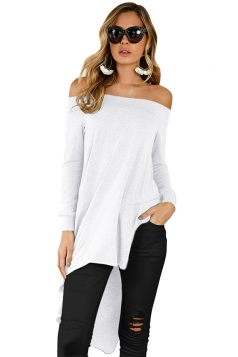 Women Off Shoulder Asymmetrical Hem Slit Long Sleeve Blouse White