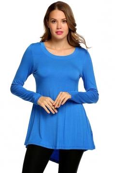 Women Asymmetrical Hem Long Sleeve Crew Neck Plain Blouse Blue