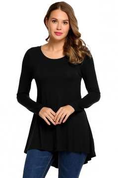 Women Asymmetrical Hem Long Sleeve Crew Neck Plain Blouse Black