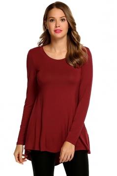 Women Asymmetrical Hem Long Sleeve Crew Neck Plain Blouse Ruby