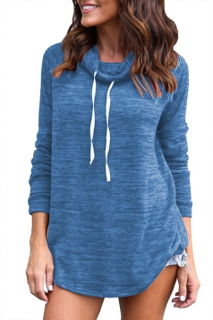 Women Drawstring Turtleneck Long Sleeve Pullover Sweatshirt Blue