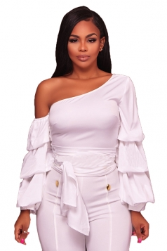 Womens Sexy Bandage Lantern Sleeve Clubwear One Shoulder Top White