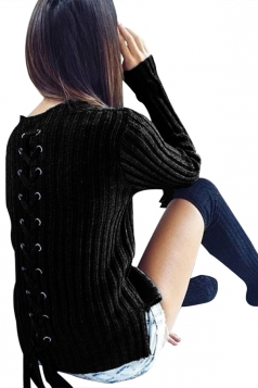 Womens Fashion Eyelet Lace Up Long Sleeve Pullover Sweater Black
