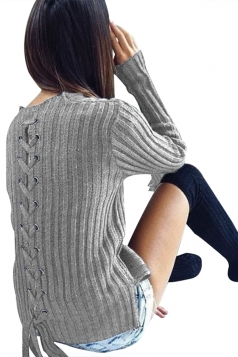 Womens Fashion Eyelet Lace Up Long Sleeve Pullover Sweater Gray