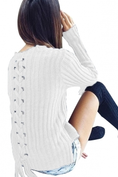 Womens Fashion Eyelet Lace Up Long Sleeve Pullover Sweater White