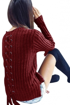 Womens Fashion Eyelet Lace Up Long Sleeve Pullover Sweater Ruby