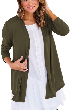 Womens Oversized Casual Long Sleeve Plain Cardigan Army Green