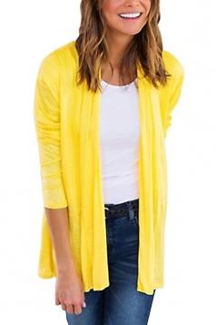 Womens Oversized Casual Long Sleeve Plain Cardigan Yellow