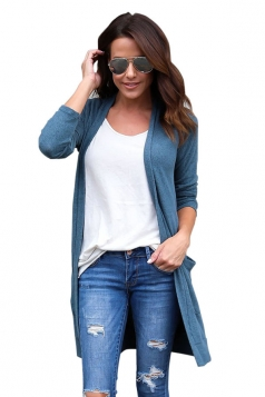 Womens Pocket Knee Length Long Sleeve Oversized Plain Cardigan Blue