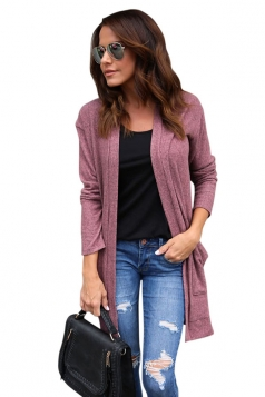 Womens Pocket Knee Length Long Sleeve Oversized Plain Cardigan Ruby