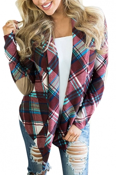 Womens Turndown Collar Long Sleeve Oversized Plaid Trench Coat