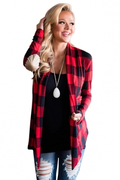 Womens Turndown Collar Long Sleeve Oversized Plaid Patterned Cardigan Coat Red