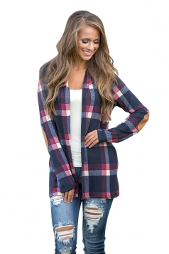 Womens Turndown Collar Long Sleeve Oversized Plaid Patterned Cardigan Blue