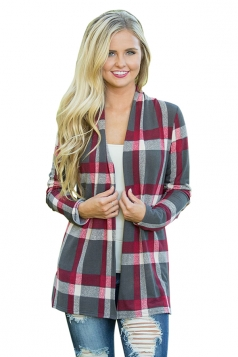 Womens Turndown Collar Long Sleeve Oversized Plaid Patterned Cardigan Gray