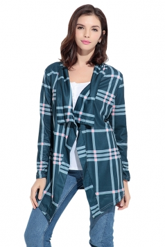 Turndown Collar Asymmetric Hem Long Sleeve Plaid Patterned Cardigan Green