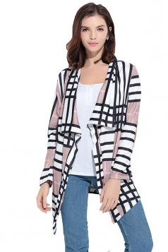 Turndown Collar Asymmetric Hem Long Sleeve Plaid Trench Coat Gray