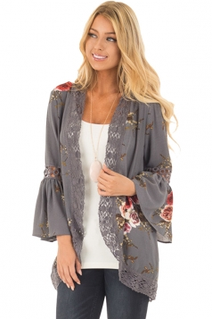 Womens Vintage Lace Bell Sleeve Floral Printed Trench Coat Gray