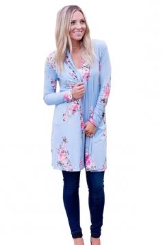 Womens Kimono Long Sleeve Pocket Floral Printed Trench Coat Light Blue