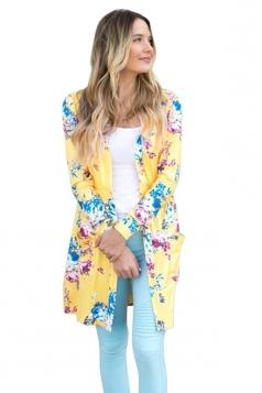Womens Kimono Long Sleeve Pockets Floral Printed Trench Coat Yellow