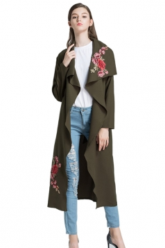 Womens Elegant Embroidered Bandage Ruffle Midi Trench Coat Army Green
