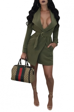 Womens Sexy Long Sleeve Tunic Belt Pocket Trench Coat Army Green