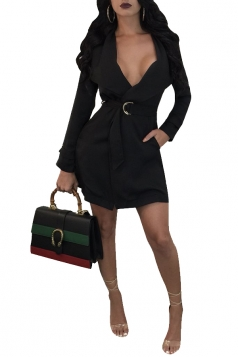 Womens Sexy Long Sleeve Tunic Belt With Pocket Trench Coat Black