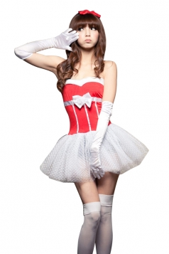Women Sexy Corset Dress Cute Christmas Santa Costume Red