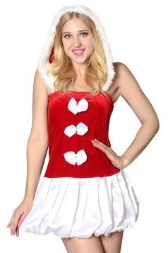 Womens Adult Sleeveless Hooded Bowknot Christmas Santa Costume Red