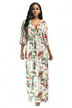 Womens Sexy Plus Size Deep V Floral Printed Maxi Dress Light Green
