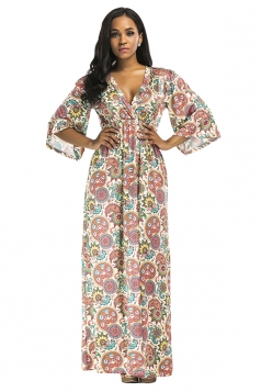Womens Sexy Plus Size Deep V Floral Printed Maxi Dress Watermelon Red