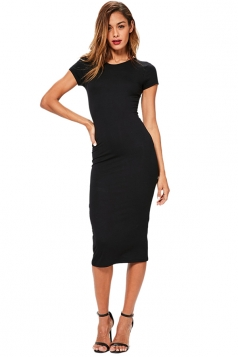 Womens Skinny Plain Crew Neck Short Sleeve Midi Dress Black