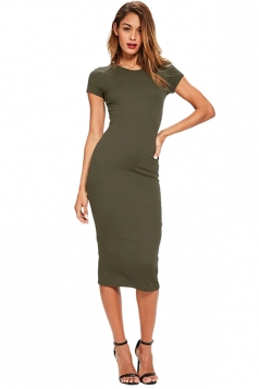 Womens Skinny Plain Crew Neck Short Sleeve Midi Dress Green