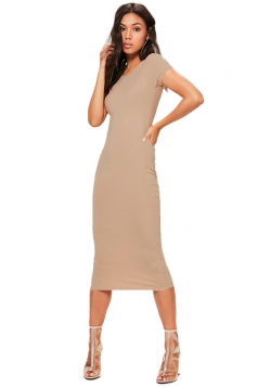 Womens Skinny Plain Crew Neck Short Sleeve Midi Dress Khaki