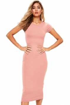 Womens Skinny Plain Crew Neck Short Sleeve Midi Dress Pink