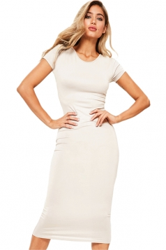 Womens Skinny Plain Crew Neck Short Sleeve Midi Dress White