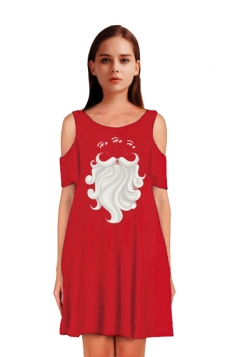 Womens Cold Shoulder Santa Claus Printed A-Line Christmas Dress Red