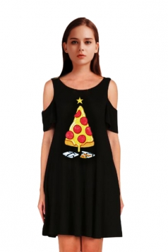 Womens Cold Shoulder Pizza Printed A-Line Midi Christmas Dress Yellow