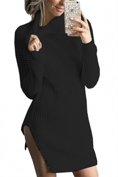 Womens High Collar Long Sleeve Slit Knit Plain Sweater Dress Black