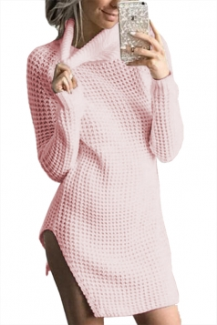 Womens High Collar Long Sleeve Slit Knit Plain Sweater Dress Pink