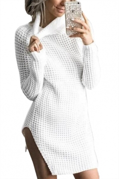 Womens High Collar Long Sleeve Slit Knit Plain Sweater Dress White