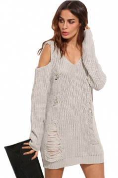 Womens V-Neck Cold Shoulder Long Sleeve Plain Pullover Sweater Gray