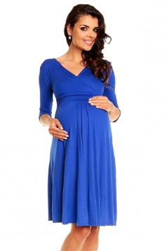 Womens Plus Size V-Neck 3/4 Length Sleeve Bandage Maternity Dress Blue